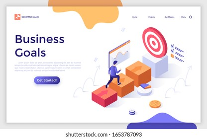 Landing page template with businessman walking towards target or man ascending career ladder. Concept of business goal achieving, development, progress or growth. Modern isometric vector illustration.