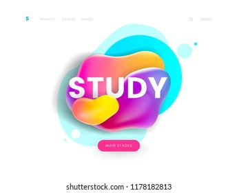 Landing page template, can be used for education, study, courses and learning web site. Header for website. Vector illustration