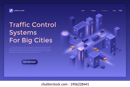 Landing page template with cars riding along night street and futuristic buildings. Concept of traffic control and monitoring systems for big cities. Modern isometric vector illustration for webpage.