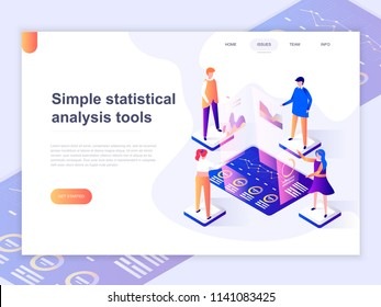 Landing page template of charts and analyzing statistics data visualization concept. 3D isometric concept of web page design for website and mobile website. Vector illustration.