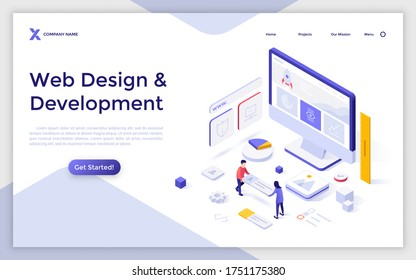 Landing page template with computer and people building website interface. Concept of web design and development, site builder online tool or service. Modern isometric vector illustration for webpage.