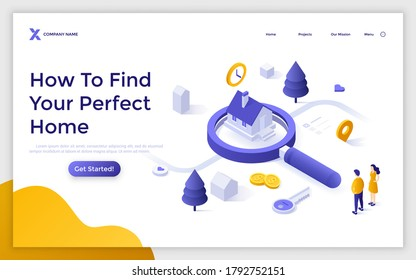Landing page template with couple standing at house on giant magnifier. Concept of search for real estate, home to buy, property for sale. Modern isometric vector illustration for online service.