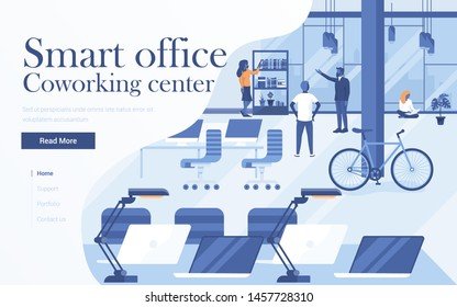 Landing page template of Coworking center. Team of young people working together in modern workspace. Modern flat design concept of web page design for website and mobile website. Vector Illustration