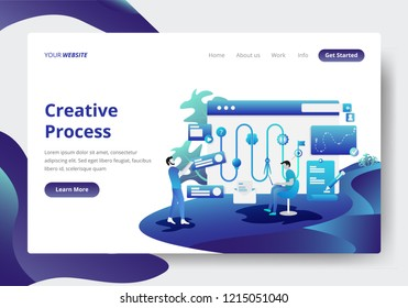 Landing page template of Creative Process Concept. Modern flat design concept of web page design for website and mobile website.Vector illustration