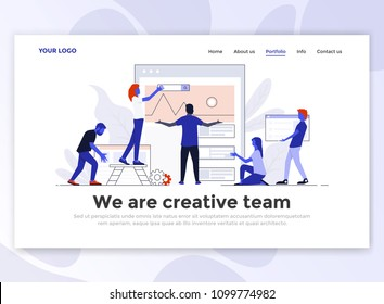 Landing page template of Creative Team. Modern flat design concept of web page design for website and mobile website. Easy to edit and customize. Vector illustration