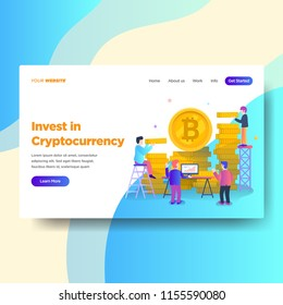 Landing page template of Cryptocurrency Investment Service. Modern flat design concept of web page design for website and mobile website.Vector illustration