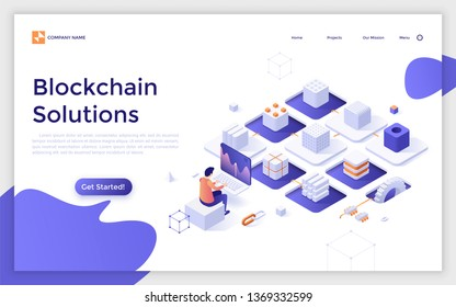 Landing page template with cryptocurrency miner sitting at computer and chain of cubic blocks. Software and hardware solutions for Bitcoin mining. Modern isometric vector illustration for website.
