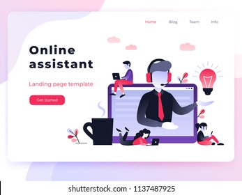 Landing page template customer and operator, online technical support 24-7 for web page. Vector illustration male hotline operator advises client. Online assistant, virtual help service for business.