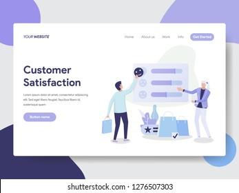 Landing page template of Customer Satisfaction Concept. Modern flat design concept of web page design for website and mobile website.Vector illustration
