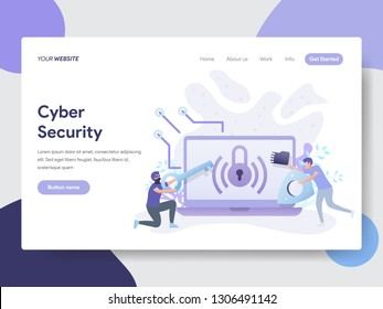Landing page template of Cyber Security Illustration Concept. Modern flat design concept of web page design for website and mobile website.Vector illustration