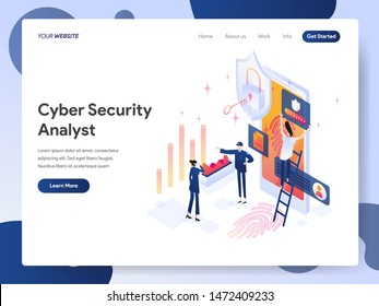Landing page template of Cyber Security Analyst Isometric Illustration Concept. Modern design concept of web page design for website and mobile website.Vector illustration EPS 10