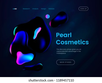 Landing page template with a dark background, can be used for luxury branded perfumes, beauty salons, advertising creams and cosmetic web sites. Header for website. Vector illustration
