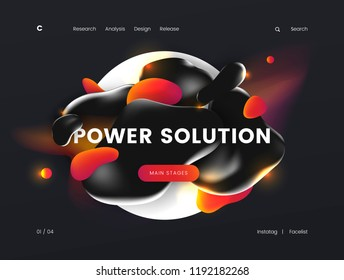 Landing page template with a dark background color, which can be used for energy, technology, electrical, and innovative web sites. Header for website. Vector illustration