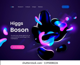 Landing page template with a dark scifi background - Boson Giggs, can be used for science, astronomy, quantum physics and space theme web sites. Header for website. Vector illustration