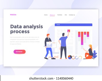Landing page template of Data Analysis process. Modern flat design concept of web page design for website and mobile website. Easy to edit and customize. Vector illustration