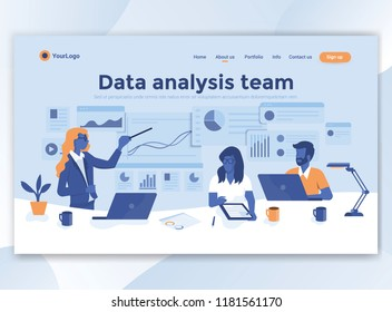 Landing page template of Data analysis team. Modern flat design concept of web page design for website and mobile website. Easy to edit and customize. Vector illustration