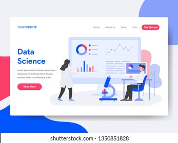 Landing page template of Data Science Illustration Concept. Isometric flat design concept of web page design for website and mobile website.Vector illustration