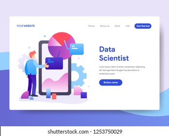 Landing page template of Data Scientist Concept. Modern flat design concept of web page design for website and mobile website.Vector illustration