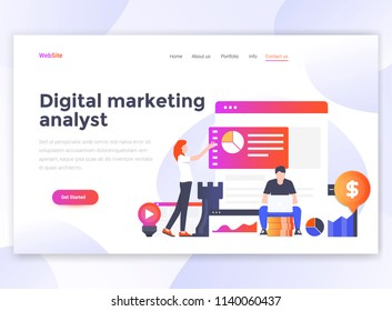Landing page template of Digital Marketing analyst. Modern flat design concept of web page design for website and mobile website. Easy to edit and customize. Vector illustration