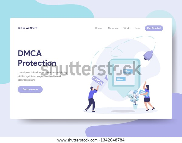 Landing Page Template Dmca Protection Illustration Stock Vector
