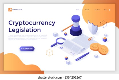 Landing page template with document, gavel, bitcoins. Cryptocurrency legislation, legal regulation or government control of blockchain technology. Modern isometric vector illustration for website.