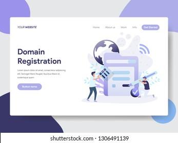 Landing page template of Domain Registration Illustration Concept. Modern flat design concept of web page design for website and mobile website.Vector illustration