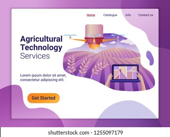 Landing page template of drone or quadcopter for Agriculture. The Flat design concept of web page design for a mobile website. Drone fly over the field and makes spraying or watering.
