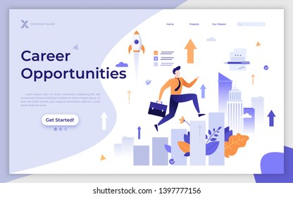 Landing page template with employee or clerk walking on ascending diagram or stairs. Career or job opportunities for growth and development at work. Flat vector illustration for website, webpage.