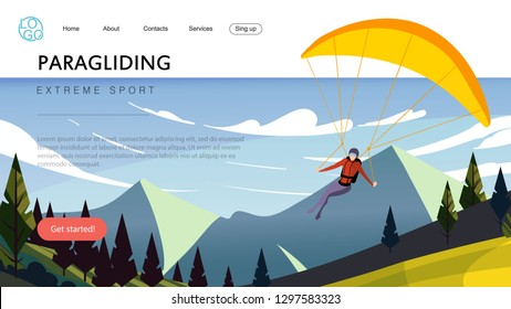 Landing page template of extreme sport paragliding. The Flat design concept of web page design for a paragliding website.
