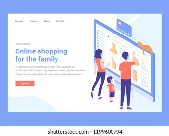 Landing page template. Family shopping in the online store. Mom, dad and son. Computer screen, bank card.