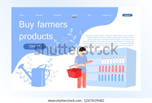 Landing Page Template Farm Online Grocery Stock Vector