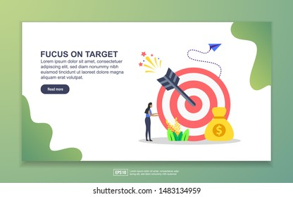 Landing page template of focus on target. Modern flat design concept of web page design for website and mobile website. Easy to edit and customize.