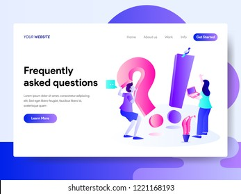 Landing page template of Frequently Asked Question Concept. Modern flat design concept of web page design for website and mobile website.Vector illustration