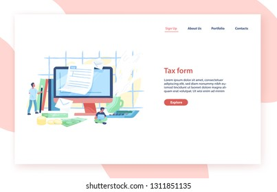 Landing page template with giant computer, tiny people or taxpayers sitting beside and filling in tax form, money bills and coins. Personal taxation. Flat vector illustration for advertisement.