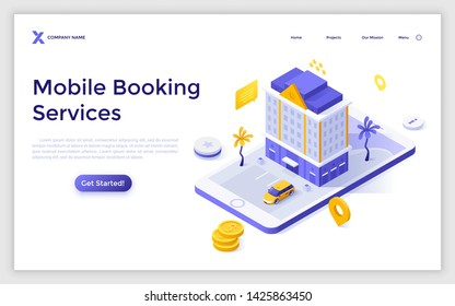 Landing page template with giant smartphone, building, dollar coins. Modern isometric vector illustration for advertisement of touristic mobile application or online hotel booking service website.