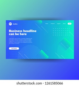 landing page template with gradient gree background colo website free vector
