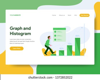 Landing page template of Graph and Histogram Illustration Concept. Modern Flat design concept of web page design for website and mobile website.Vector illustration