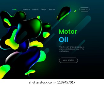 Landing page template with green abstract liquid shapes - Motor Oil, can be used for natural lubricants, gas industry, energy business, eco branding, bio fuel web sites. Header for website. Vector
