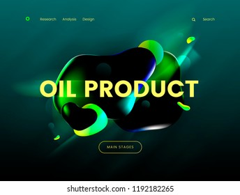 Landing page template with a green background color and abstract liquid shapes, can be used for gas, petrol, gasoline industries, branding ecology cleen fuel web sites. Header for website. Vector