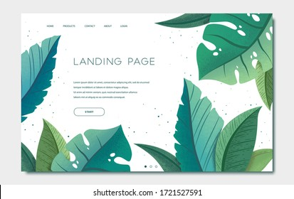 Landing page template with green trendy exotic palm leaves and monstera on white background. Tropical botanical design vector illustration concept for website development