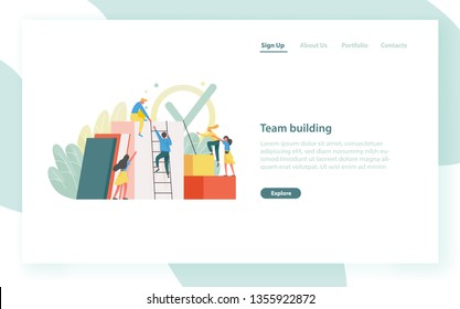 Landing page template with group of clerks, employees or office workers climbing up together and supporting each other. Team building, teamwork. Flat vector illustration for website, web banner.