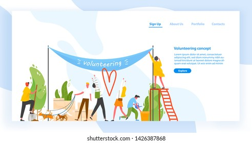 Landing page template with group of men and women taking part in volunteer organization or movement, volunteering or performing altruistic activities together. Modern flat vector illustration.