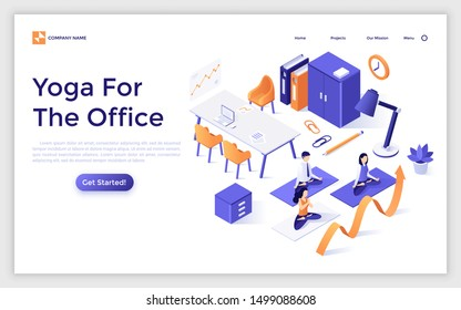 Landing page template with group of office workers sitting cross legged and performing yoga or pranayama meditation. Spiritual practice at work. Isometric vector illustration for webpage, banner.
