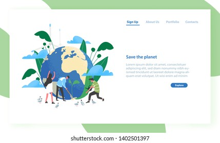 Landing page template with group of people of ecologists taking care of Earth and nature. Save The Planet. Environmental protection, use of eco friendly technology. Flat colorful vector illustration.