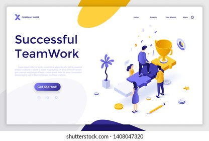 Landing page template with group of people holding man ascending stairs made of jigsaw puzzle pieces and champion cup. Successful teamwork, route to success. Modern isometric vector illustration.