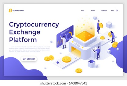 Landing page template with group of people working on laptop computers and giant crypto coins. Cryptocurrency marketplace for exchange of Bitcoin and digital currencies. Isometric vector illustration.