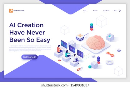 Landing page template with group of people sitting at computers and programming giant brain. Concept of creation of artificial intelligence, machine learning technology. Isometric vector illustration.