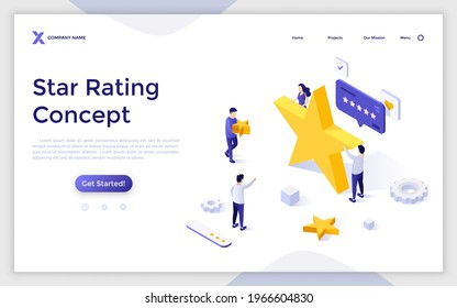 Landing page template with group of people and golden stars. Concept of quality ranking, excellent rating score, positive review, user feedback. Modern isometric vector illustration for website.
