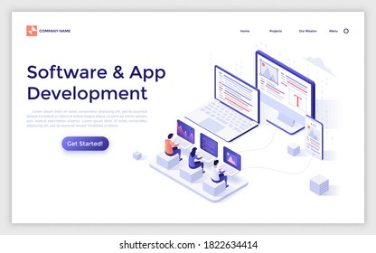 Landing page template with group of programmers coding on laptops, computer and smartphone. Concept of cross-platform software development, apps for different devices. Isometric vector illustration.