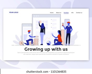 Landing page template of Growing up with us. Modern flat design concept of web page design for website and mobile website. Easy to edit and customize. Vector illustration